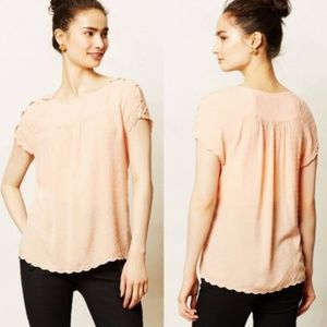 Maeve Anthropologie Peach Swiss Dot Button Blouse